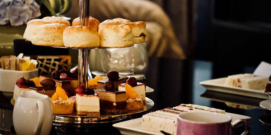 Afternoon tea with scones and desserts