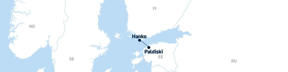 A map showing DFDS' freight shipping route between Paldiski and Hanko