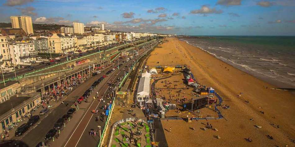 Top view over busy Brighton beach during sales season