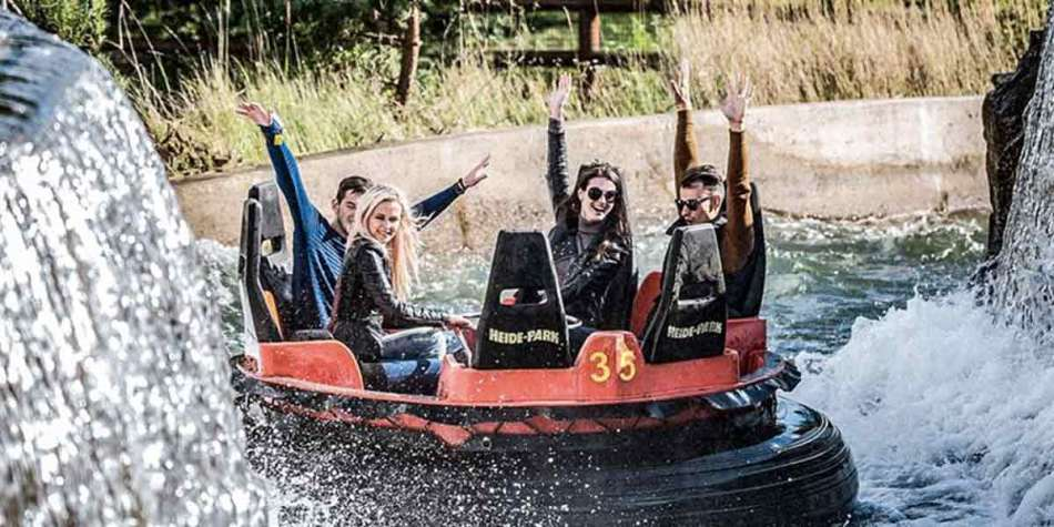 Group enjoying a water ride at Heide Park