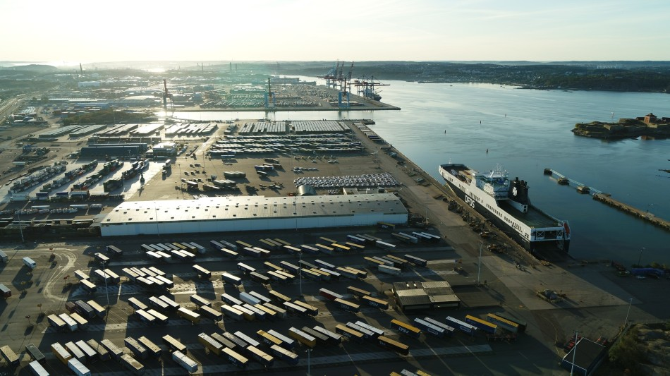View from above of the DFDS Freight shipping terminal in Gothenburg, Sweden
