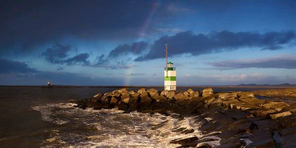 Ijmuiden lighthouse at night time