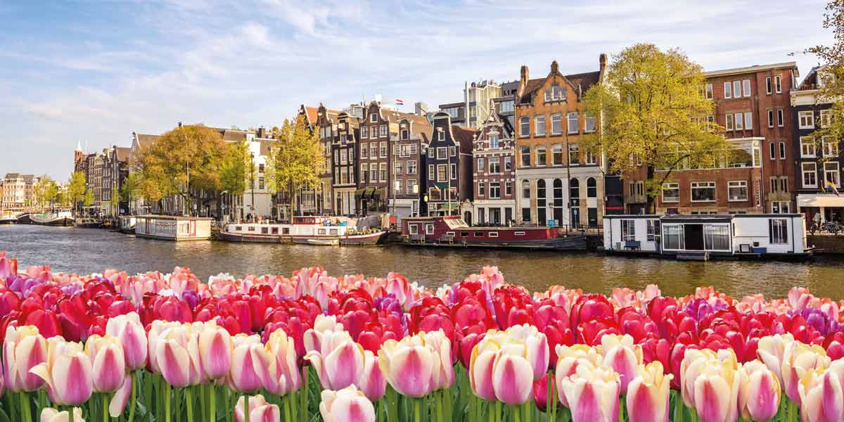 Flowers on the canal in Amsterdam