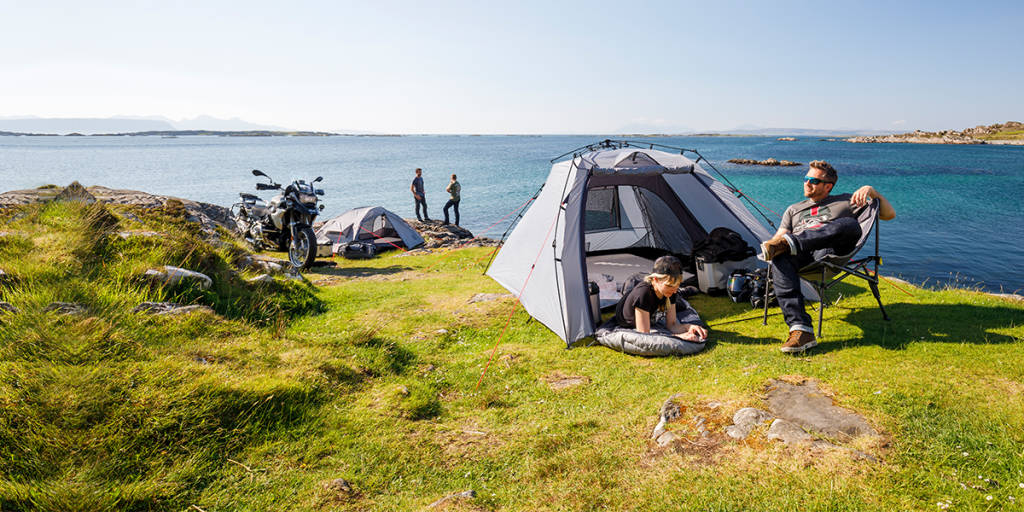 Family on camping holiday