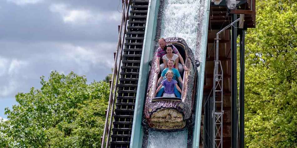 Family on a water ride at Heide Park, Germany