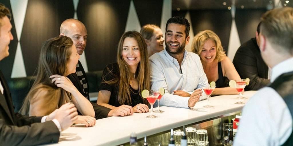 Guests in bar onboard Copenhagen-Oslo ferry