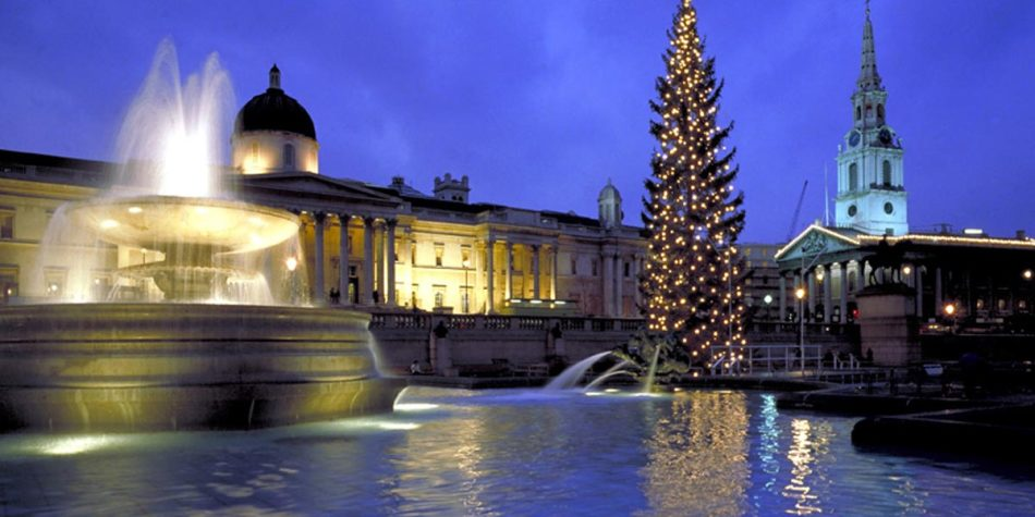 A fountain and Christmas tree in London
