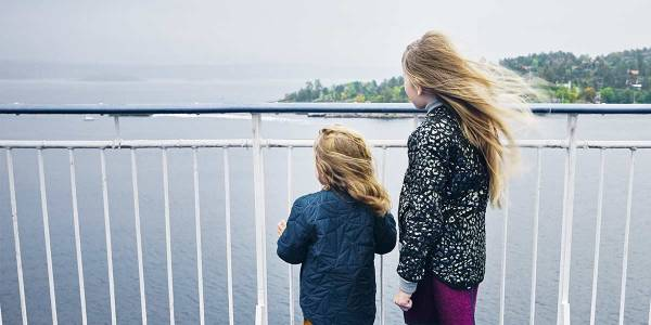 Children on the deck of Copenhagen-Oslo ferry