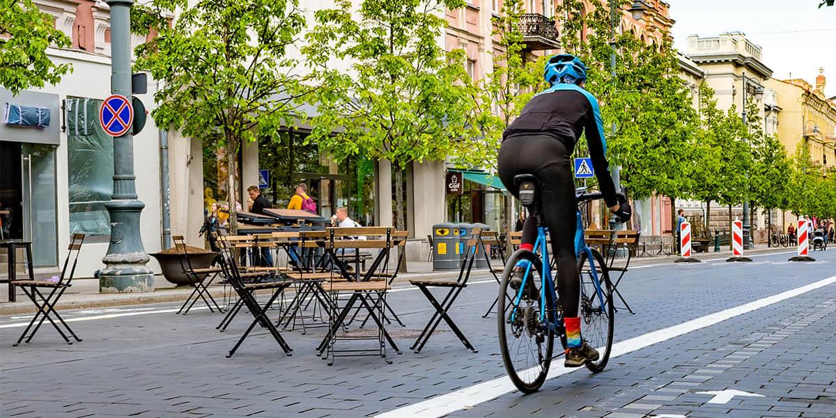 Man on a bike in Vilnius, Lithuania