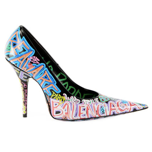 Balenciaga graffiti knife pointed pumps