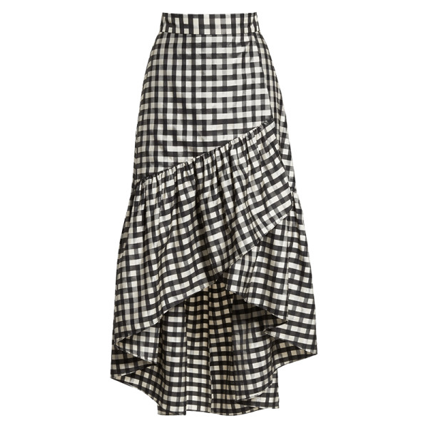 Eliza J Ruffle Asymmetrical Skirt Story Rain