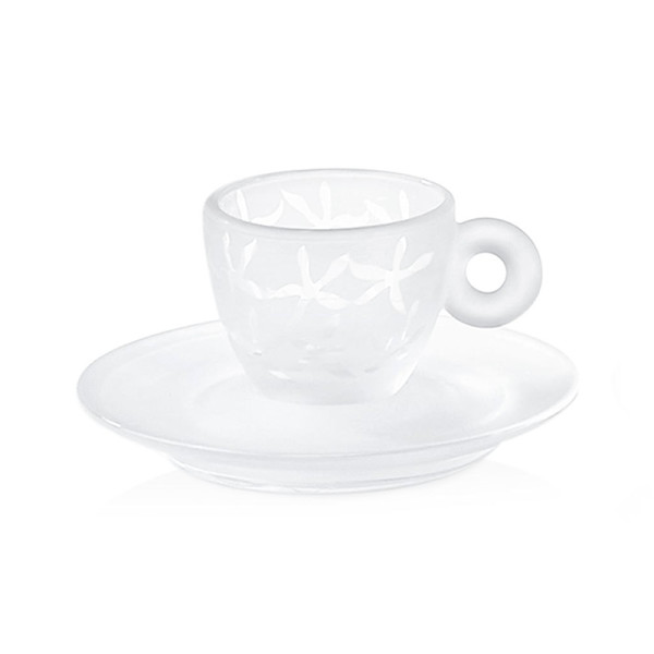 Illy caffe crystal espresso cups with coffee flowers
