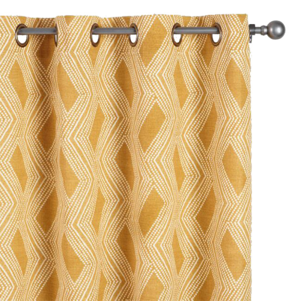 World market mustard geometric bandhani grommet top curtains