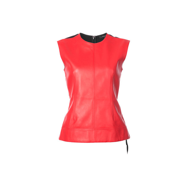 Derek lam   red leather sleeveless shell with crepe back