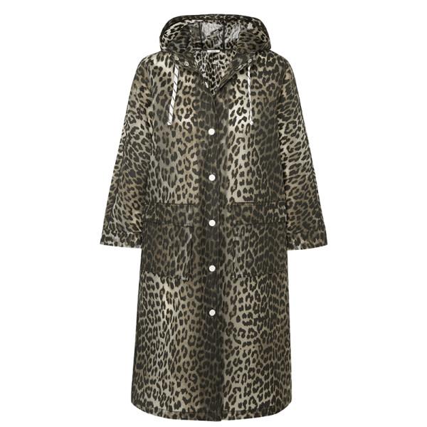 Ganni leopard print matte pu coat