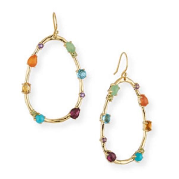 Ippolita 18k rock candy large multi stone teardrop earrings in rainbow