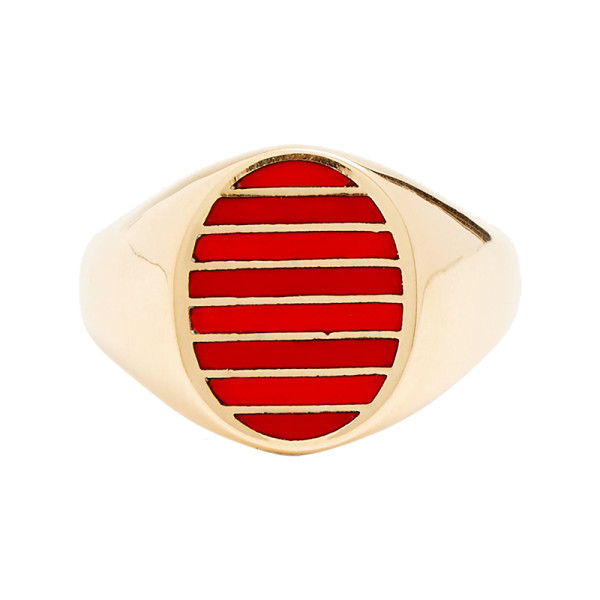 Jessica biales enamel   yellow gold ring