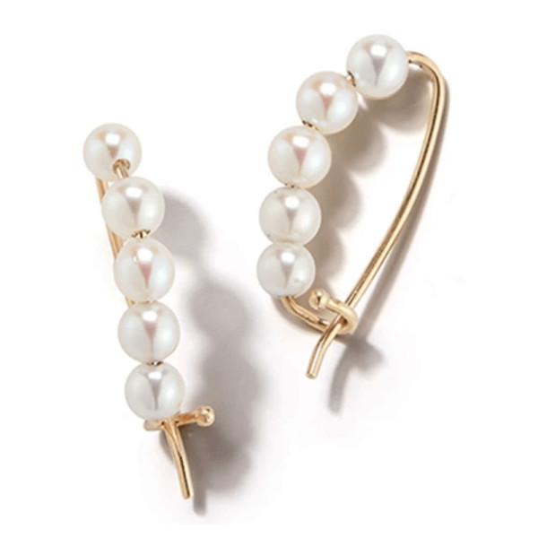 Mizuki 14k gold small pearl pin earrings