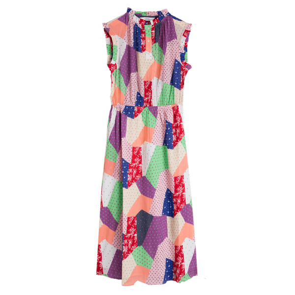 other stories gathered patchwork print dress