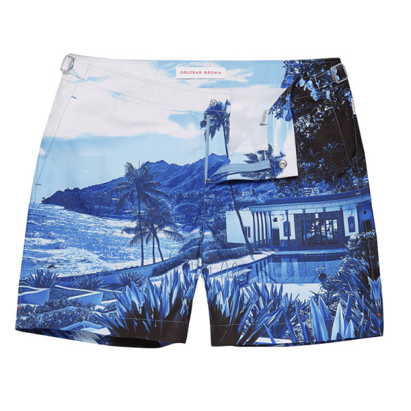 Orlebar brown bulldog  blue view  print swim trunks