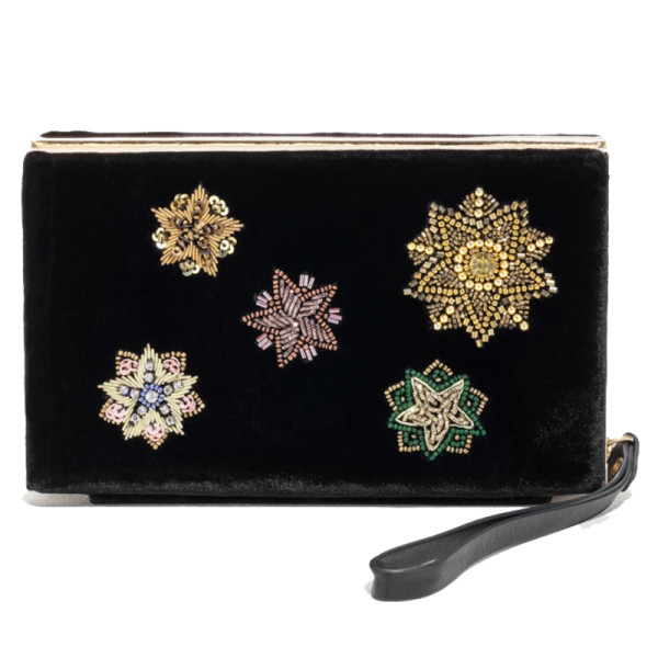 other stories embroidered velvet clutch