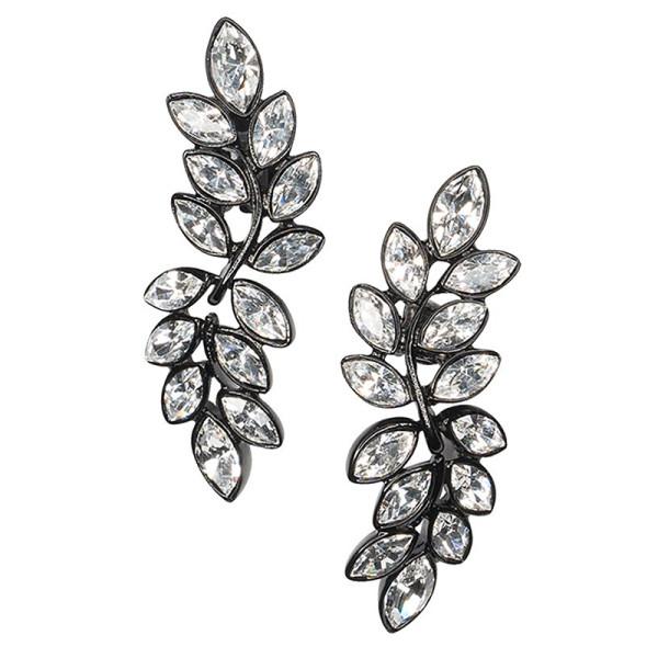 Kenneth jay lane crystal leaf drop clip earring