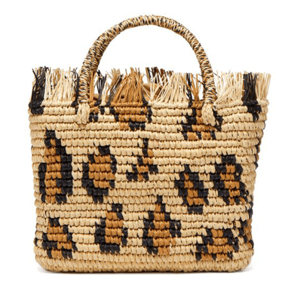 Sensi studio large frayed animal print straw tote