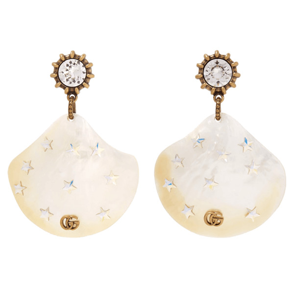 Gucci gold tone  pearl and crystal earrings