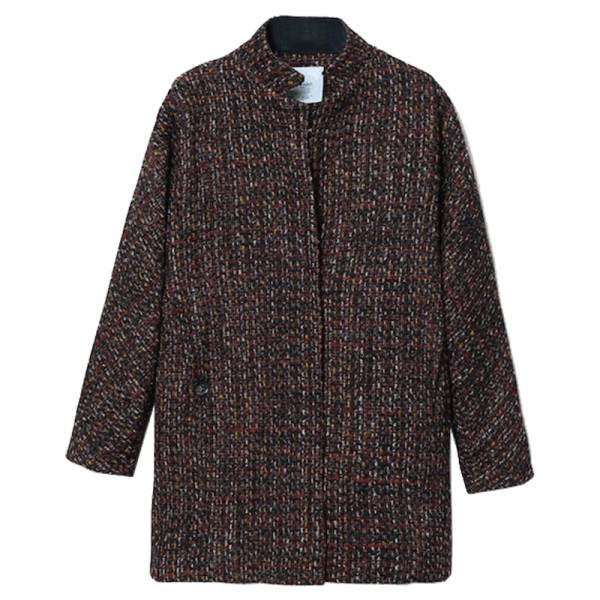 Mango flecked wool blend coat