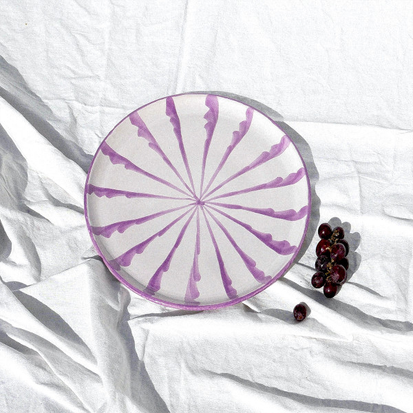 Pomelo purple casa lila dinner plate with candy cane stripes