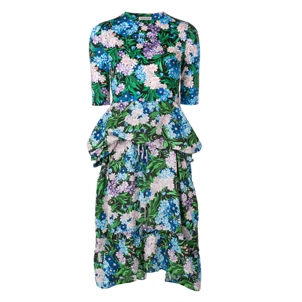 Balenciaga elbow sleeve floral print fit and flare dress