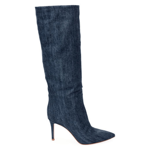Gianvito rossi slouchy denim mid calf boots