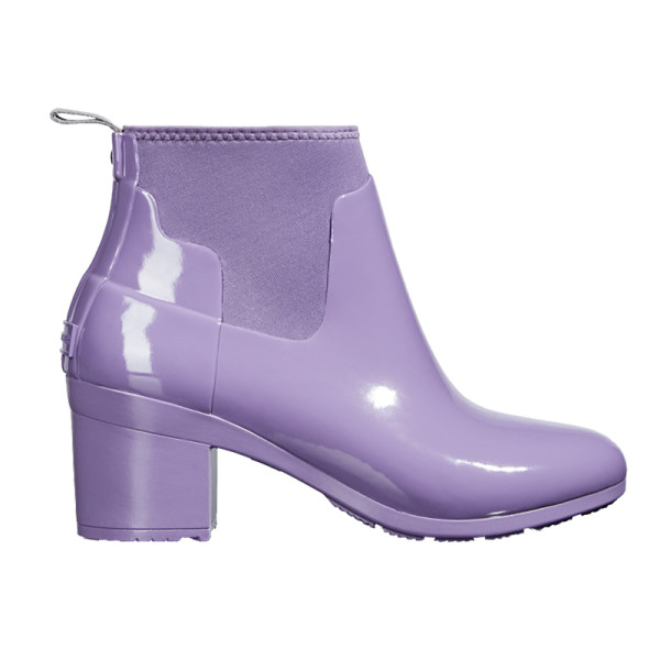 Hunter refined gloss mid heel boots