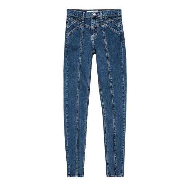 Topshop mid blue panelled jamie jeans