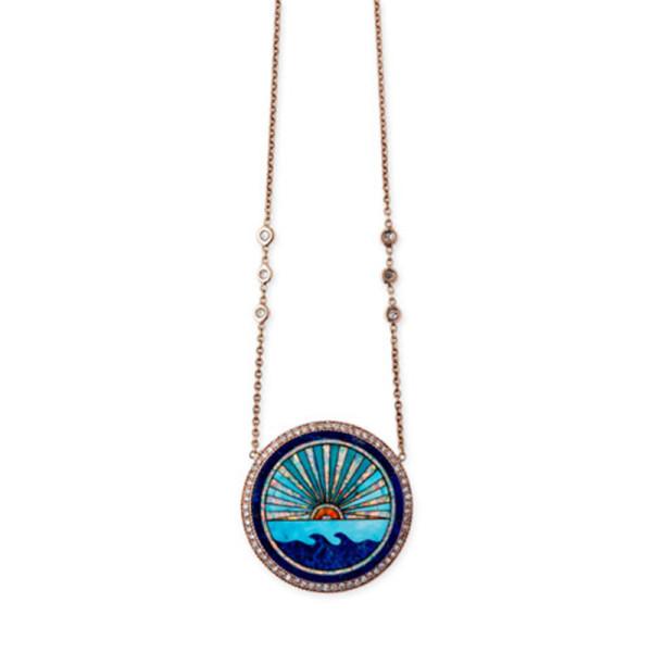 Jacquie aiche sunset opal mosaic pendant necklace with diamonds