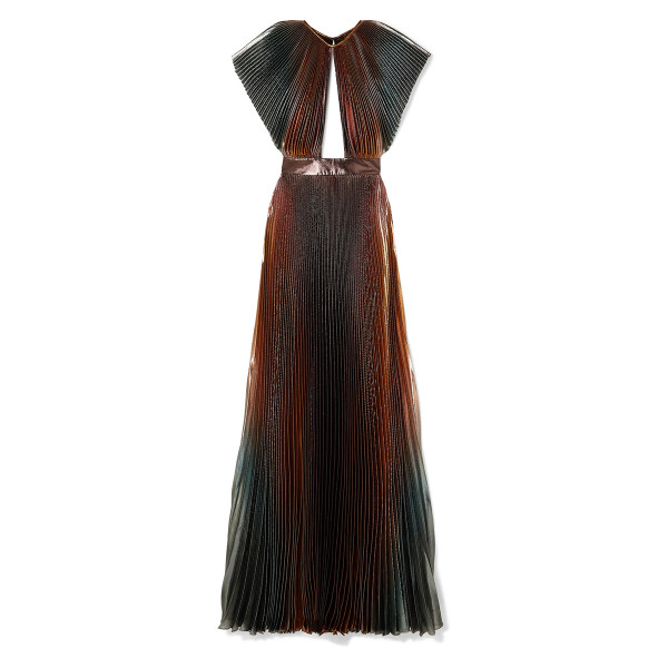 Givenchy metallic ombre plisse cutout gown