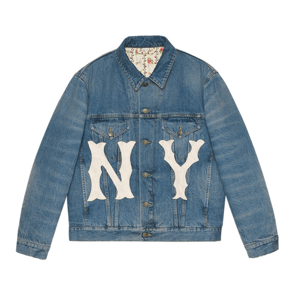 Gucci denim jacket with ny yankees    patch