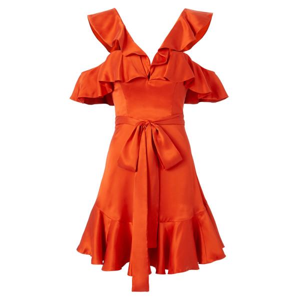 Zimmermann ruffle cold shoulder dress