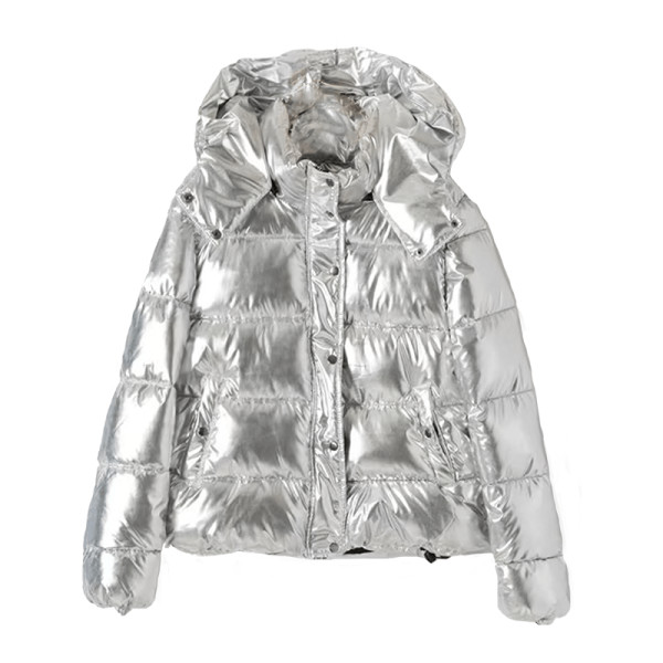 Shein metallic quilted puffer coat with hood