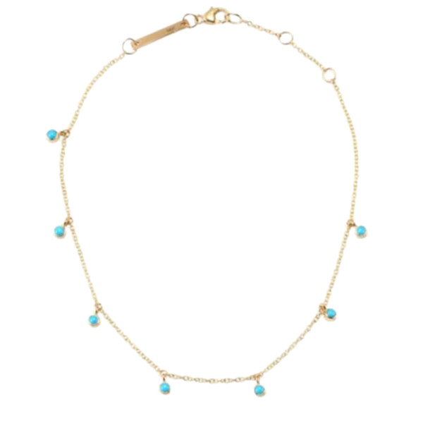 Zoe chicco turquoise   14k yellow gold anklet