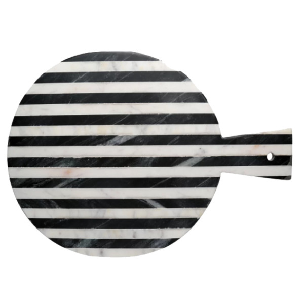 Joss   main geller round striped marble cheese tray