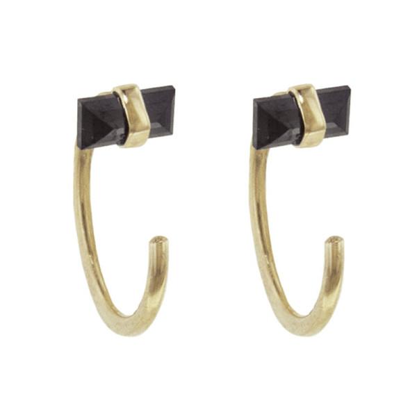 Melissa joy manning black diamond hug hoop earrings