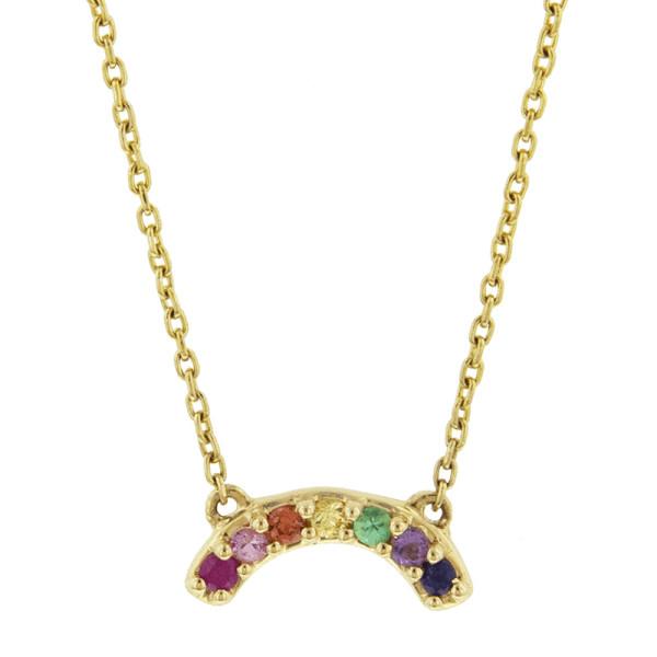 Andrea fohrman multi sapphire mini rainbow necklace in yellow gold