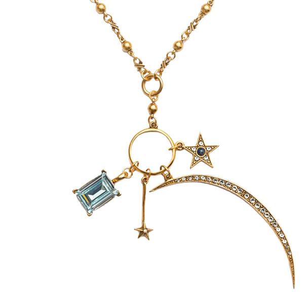 Sequin crescent moon statement charm pendant necklace