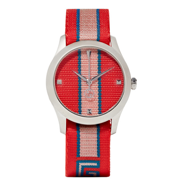 Gucci striped canvas and stainless steel watch