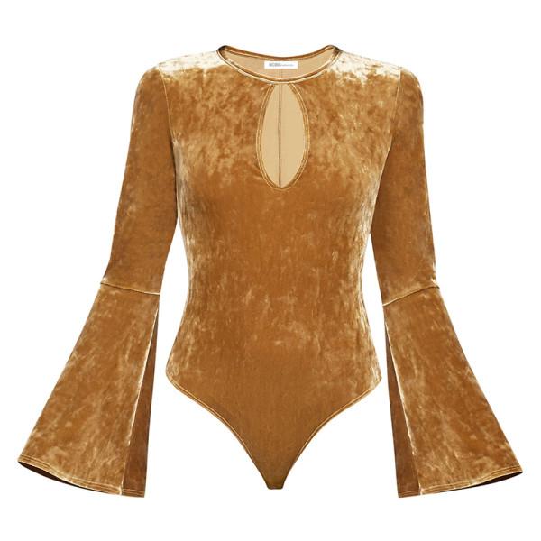 Bcbgeneration long sleeve crushed velvet bodysuit