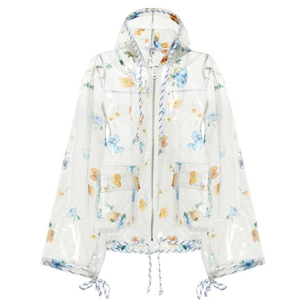 Ganni petunia floral printed raincoat