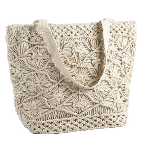 World market white macrame picnic insulated tote bag