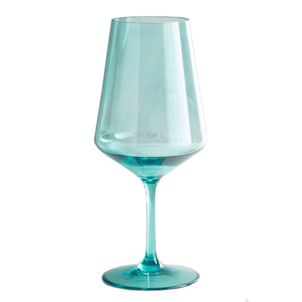 Clarity collection turquoise acrylic tall white wine glass