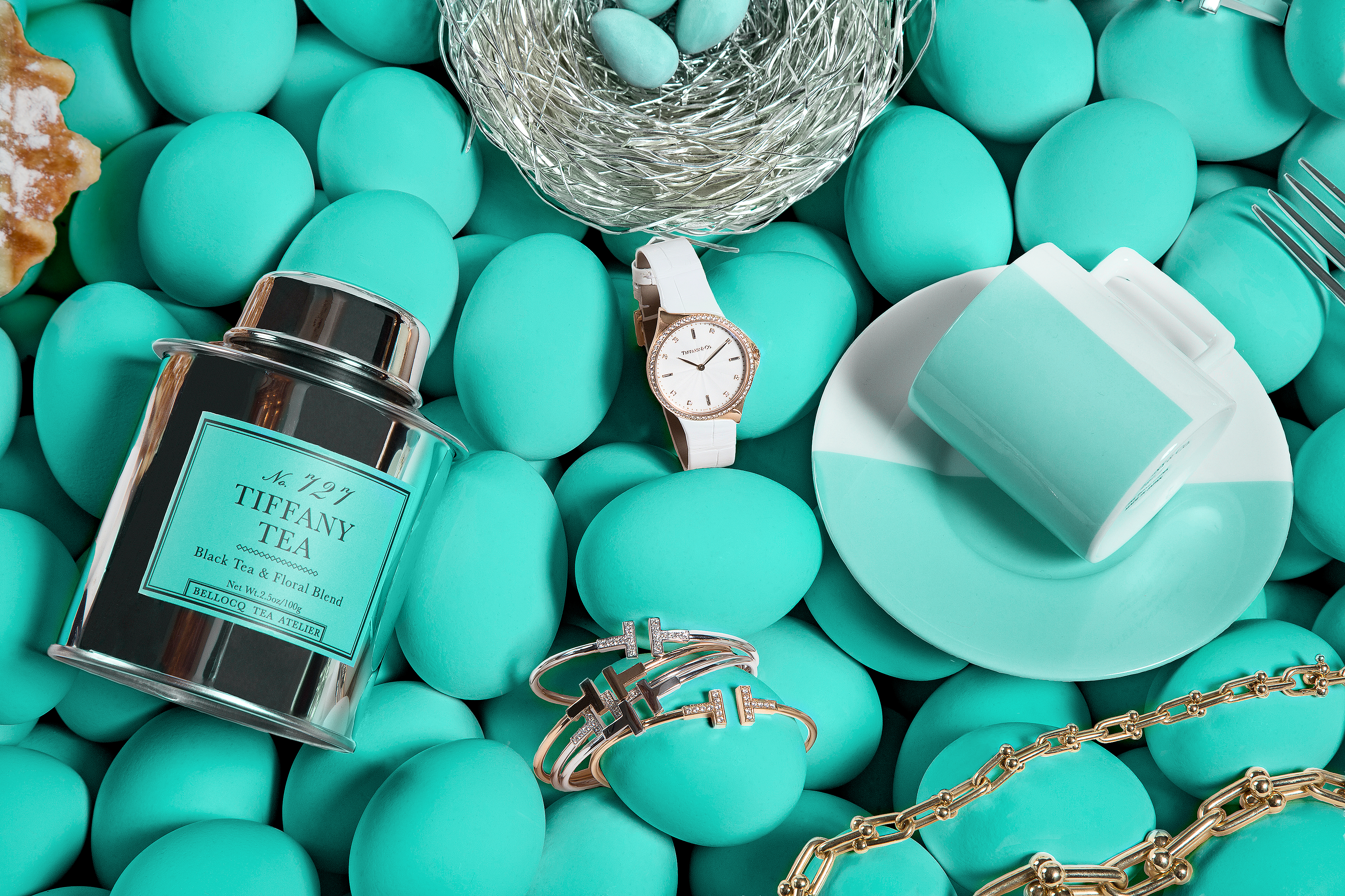 31f525086 Tiffany Tea No. 727 Black Tea and Floral Blend; Everyday Objects Sterling  Silver Bird's Nest with Tiffany Blue Porcelain Eggs; Tiffany Metro Watch in  18k ...